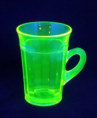 Uranium Glass Tall Vintage Coffee Cup / Mug 4.5