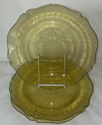 """3 Federal PATRICIAN AMBER * 9"""" LUNCHEON PLATES*"""
