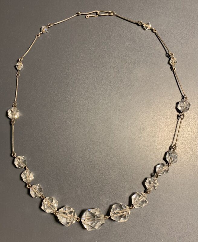#RAD18801130 Art Deco  Gold Plated & Clear Crystal Glass Necklace 1900 - 1920s
