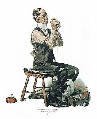 """Norman Rockwell tailor bachelor print """"MAN THREADING A NEEDLE"""" 11x15"""" or 8x10"""""""