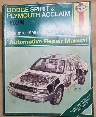 1989 1990 1991 1992 Dodge Spirit & Plymouth Acclaim Haynes Repair Manual #1779