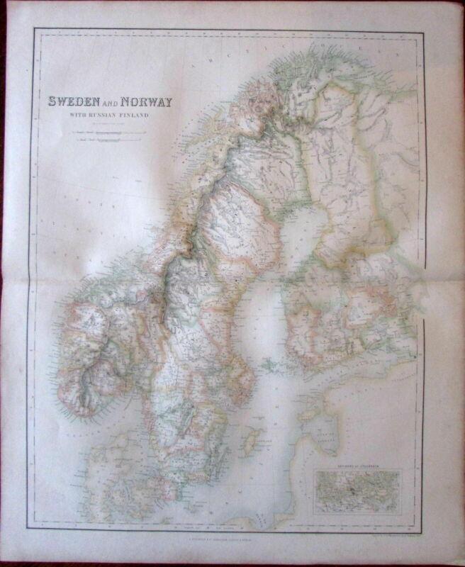 Sweden Norway Finland Scandinavia Fullarton c. 1860 large folio sheet map