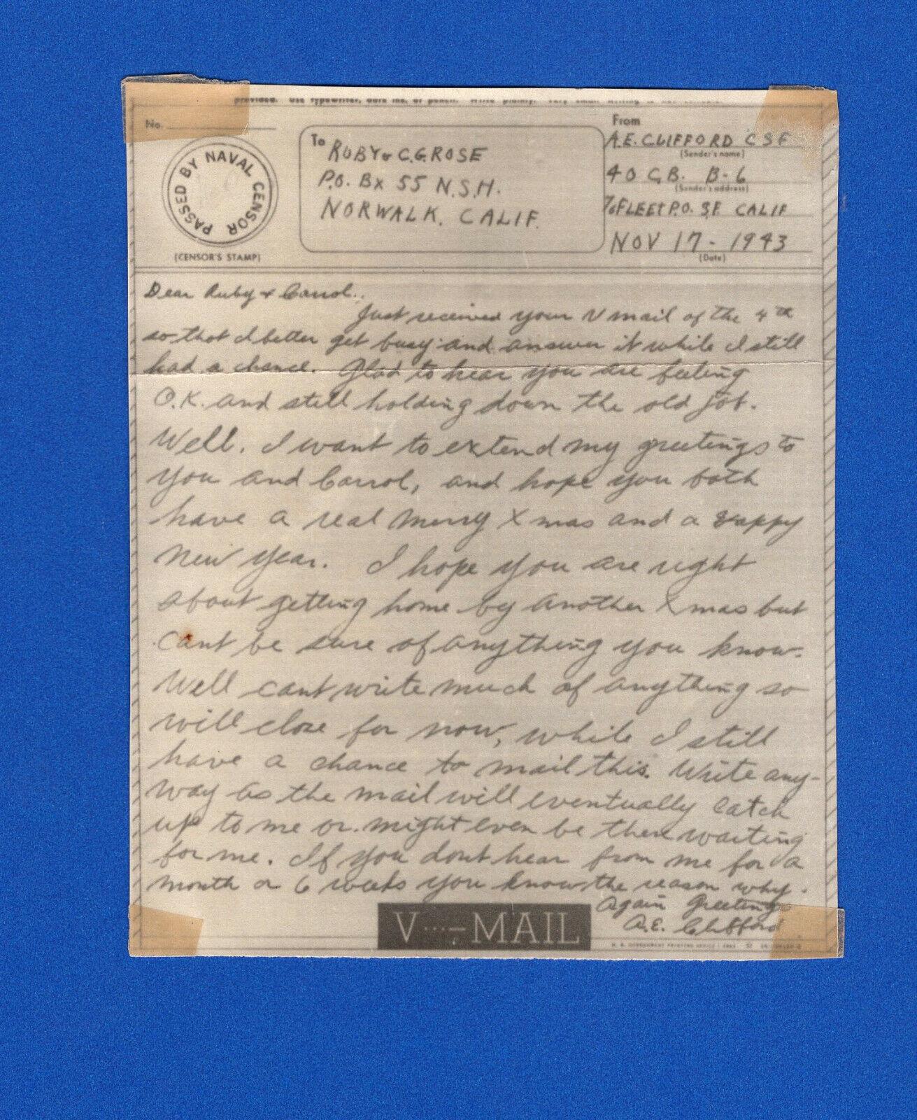 Seabee s Censored V Mail 40th Naval Construction Battalion Espiritu Santo 1943 - $5.99