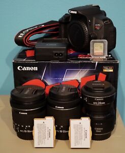 Canon T5i + 4 lenses, 2 batteries, SD card and all accessories