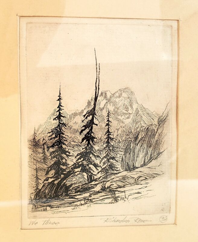 """1930s Richardson REME Etching """"We Three"""" Estes Park COLORADO Signed and Numbered"""