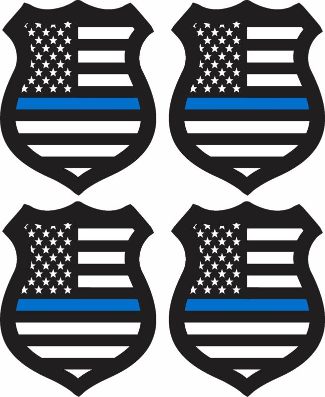 """4 PACK SMALL 2"""" BLUE LIVES MATTER BADGE STICKER POLICE DECAL WINDOW BUMPER"""