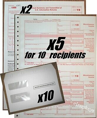 2019 Irs Tax Forms Kit 1099-misc Carbonless 10 Recipients10 Envelopes21096