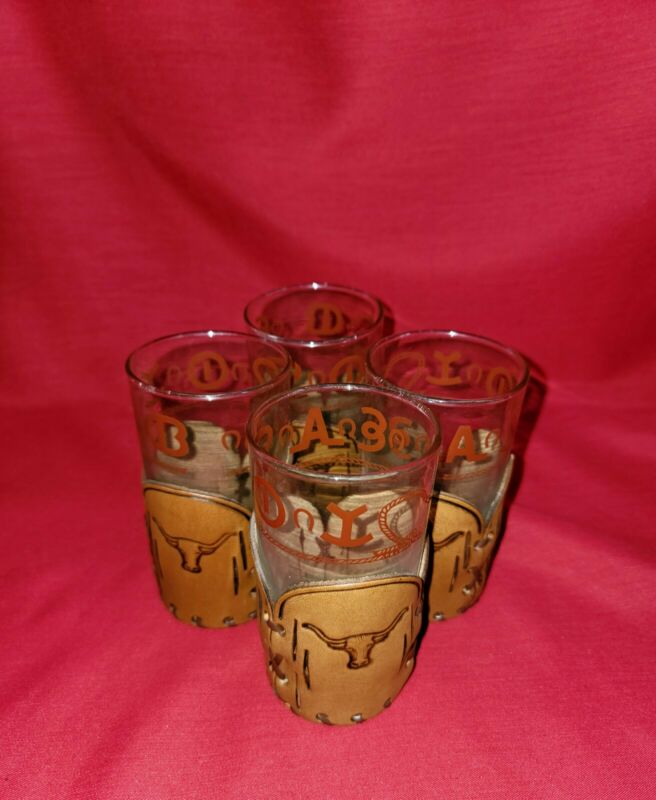 """Libbey Bamco Western Theme """"Cattle Brand"""" Rocks Glasses (4) with Leather Coozies"""
