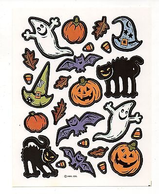 Vintage Hallmark Sticker,  CLASSIC HALLOWEEN GHOST BAT CAT 1 Sheet - Ghosts Halloween History
