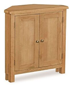 Lanner-Oak-Small-Corner-Cupboard-Sideboard-Rustic-Waxed-Two-Door-Cabinet