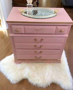 Stylish dresser/Commode in Pink &Gold