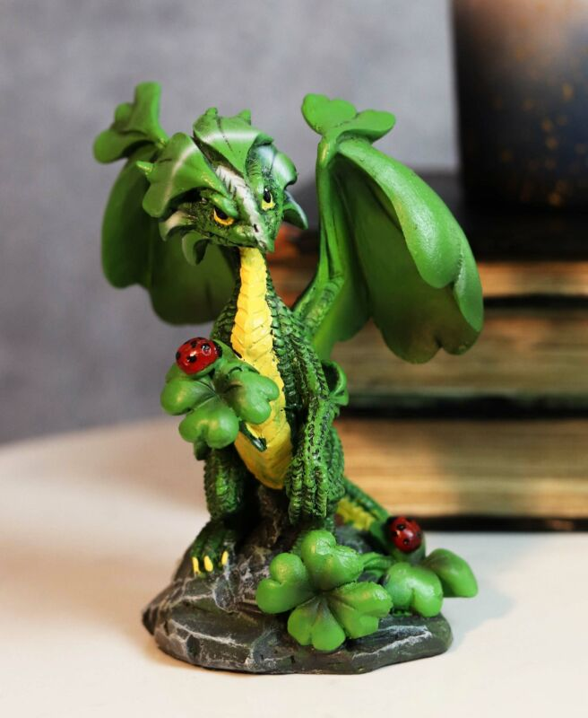 Ebros Green Irish Lucky Clover Dragon with Ladybugs Statue by Stanley Morrison