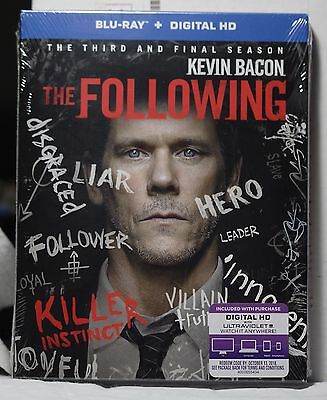 New The Following Season 3 On Blu Ray Hd Ultraviolet  3 Disc Set  Factory Sealed