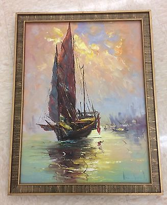 VINTAGE KAM SHAN YU SIGNED ORIGINAL OIL PAINTING SEASCAPE NAUTICAL SHIPS FRAMED