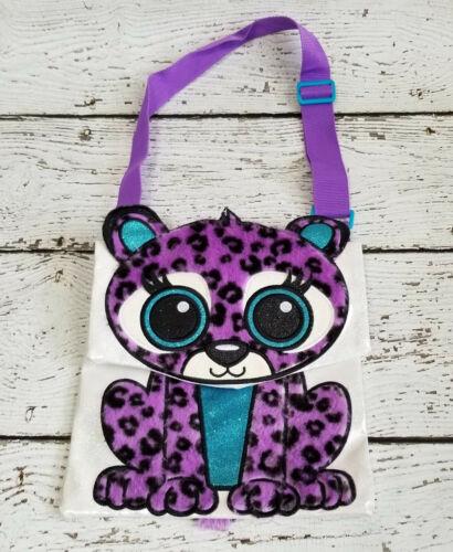 JUSTICE Girls Purple Cat Tiger Purse Bag, Messenger Style, Long Shoulder Strap
