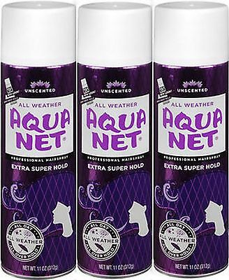 3 Pack Aqua Net Extra Super Hold Professional Hair Spray, Unscented, 11 oz Each