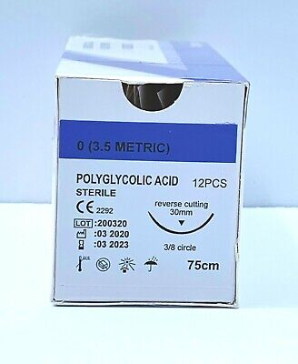 Veterinary Surgical Suture 00 Pga 12ct Polyglycolic Acid Reverse Cutting 30mm