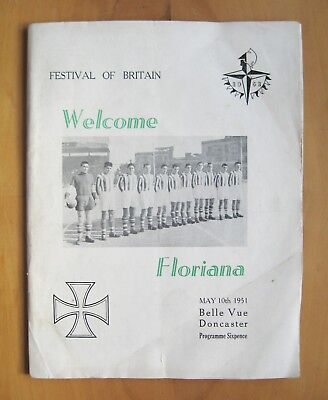 DONCASTER ROVERS v FLORIANA Festival Of Britain Friendly 1950/1951 *Good Cond*