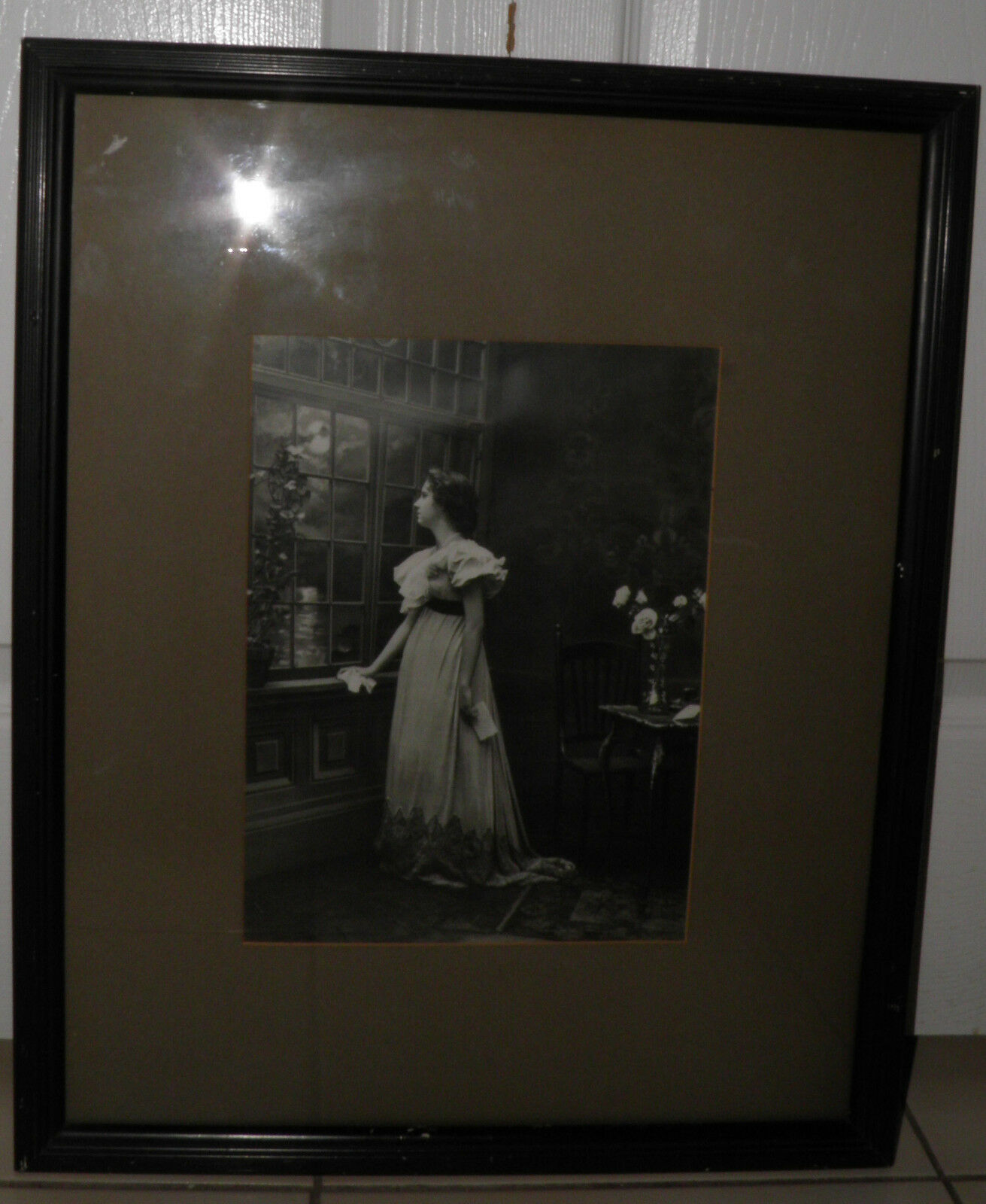 Antique Day Dreamer Ullman Mfg.Co.NYC Original Lithograph Print 18x22 Framed - $68.84