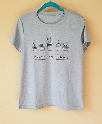 Plants Are Friends Vegan Vegetarian Animal Rights T Shirt Graphic Tee New M L