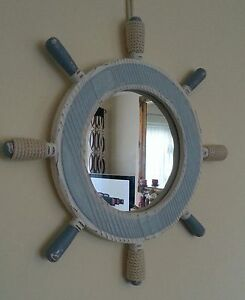 nautical bathroom mirror nautical ships wheel mirror in washed blue amp white 13794