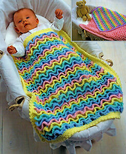 BABY SOFT TODDLER ARAN BLANKET COT PRAM CROCHET PATTERN  (188)