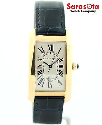 Cartier Tank Americaine Large 1740 18K Yellow Gold Leather Automatic Men's Watch