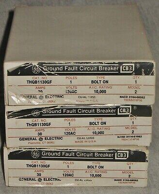 New In Box 3 Ge Thqb1130gf Circuit Breakers 30 Amp 1 Pole 120v Bolt-on 10ka