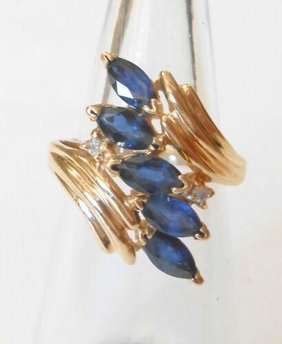 Retro Modern 14k Yellow Gold Marquise Blue Sapphire & Diamond Ring Size 4.75