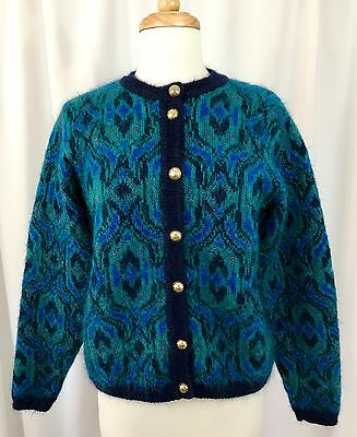 VTG Edinburgh Fair Isle Knit Mohair Blend Cardigan Sweater Jewel Tone Womens S  for sale  Shipping to Canada