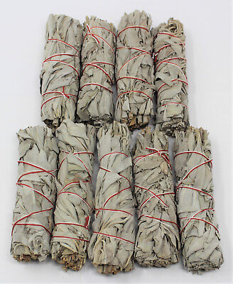 """Lot 9 White Sage Smudge Stick 4"""" to 5"""" Wands House Cleansing Negativity Removal"""