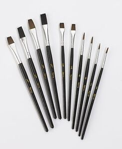 10 Pc Harris Performance Fine Detail Artist Paint Brush Set Natural Bristle Art