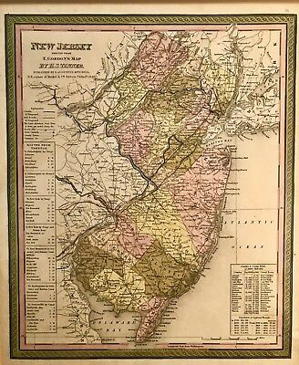 19th Century Antique Map of the United States New Jersey