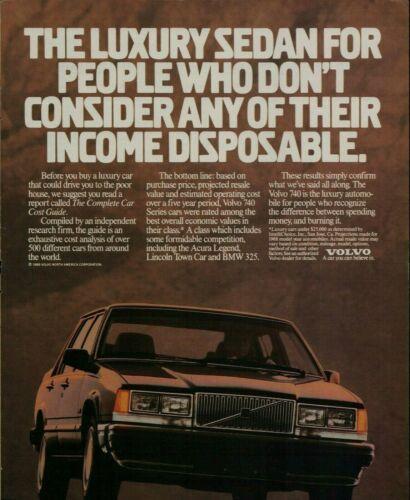 1988 Volvo 740 Car Vintage Color Photo Print Ad