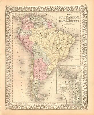1874 ANTIQUE MAP - SOUTH AMERICA