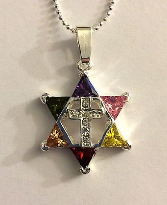 Jewish Messianic Christian Silver Plated Star of David w/ Colored Stones & Cross