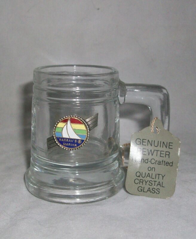Shot Glass Harrah's Marina Ship Pewter Crystal Mug Handle Shooter Fort 1982 USA