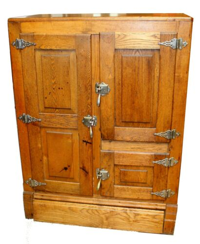 Vintage Oak Ice Box Illuminated Storage Cabinet