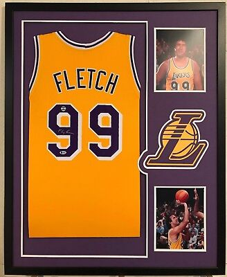 df2f7e20516 Chevy Chase Autographed FLETCH Custom Framed Los Angeles Lakers Jersey BAS  COA