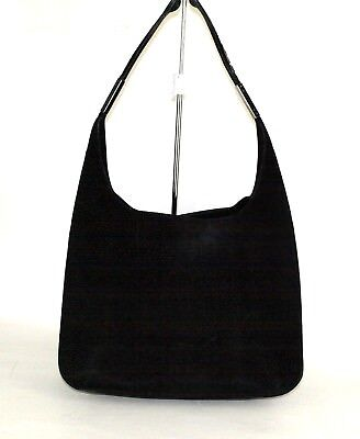 Authentic Gucci Black Suede Leather Hobo Tote Shoulder Bag Purse Italy Vintage