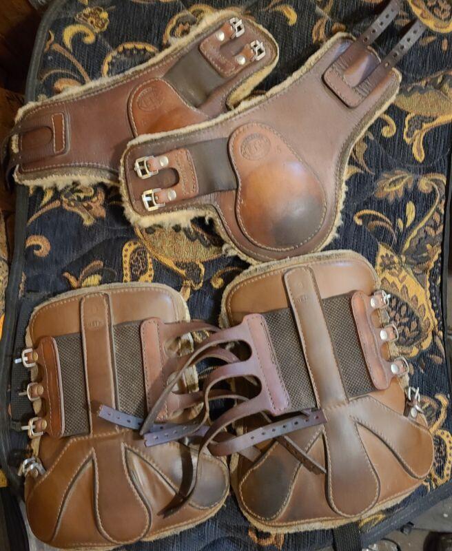 Ferramenta Tecnico Equina F.T.E. Italian Leather Equine Fetlock Boots Size 3