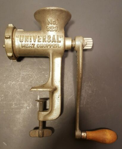 "Vintage ""UNIVERSAL"" NO. 323 MEAT CHOPPER / Grinder / Table - Counter Mount"