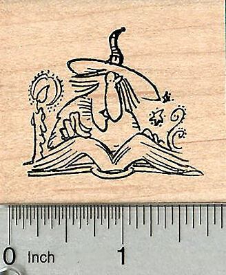 Halloween Witch Rubber Stamp, with Spell Book G34702 WM](Halloween Spell)