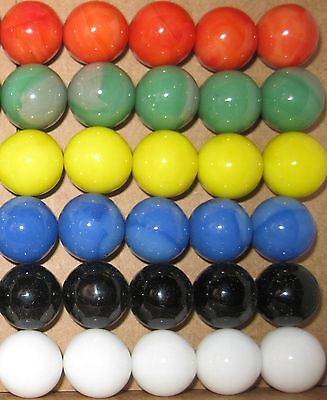 30 ea SOLID COLOR GLASS REPLACEMENT MARBLES WAHOO AGGRAVATION GAME PART & 2 DICE