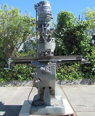Bridgeport Mill Vertical Milling Machine 42 Table With 6 Vise 2 Axis 1 Hp 230v