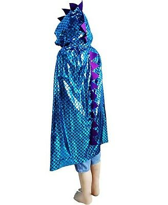 Kids Girl Boy Blue Dinosaur chameleon Halloween Cape Cloak Party Fancy Costume