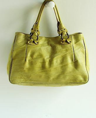 Falorni Italia Le Borse Gorgeous Chartreuse Tones Rippled Leather Tote Handbag
