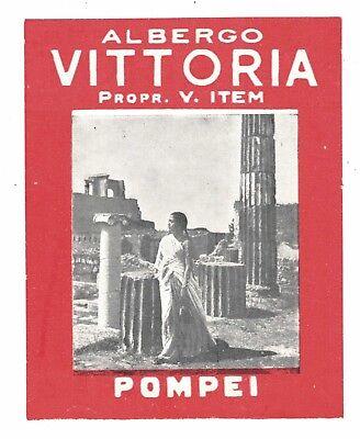 Albergo Vittoria, Pompei Italy  - Vintage Hotel Luggage Label