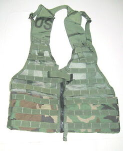WOODLAND-CAMO-MOLLE-TACTICAL-FIGHTING-LOAD-CARRIER-VEST-FLC-WTH-TAN-BCKL-ZIPPER