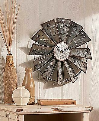 "Metal Windmill Wall Clock Primitive Rustic Farm House Decor 14.5"" NEW"